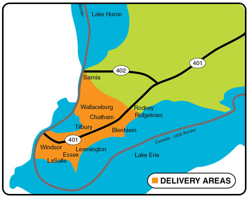 Rene Blain Trucking Delivery Areas